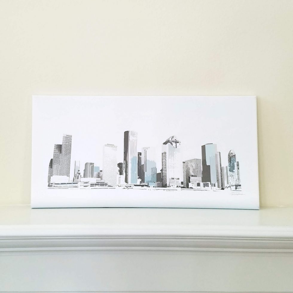 Houston Skyline - Blue - Original Digital Art Print