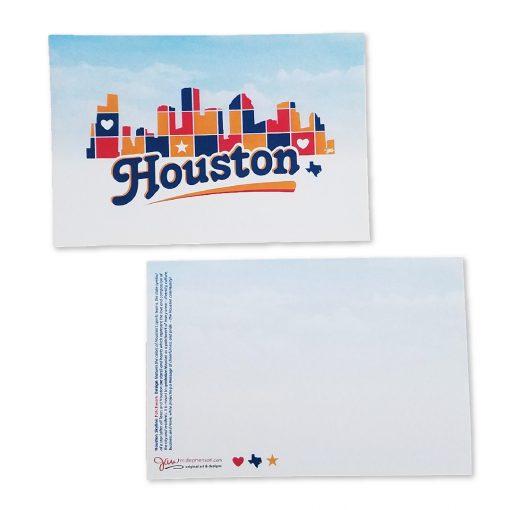 Houston Skyline Patchwork Post Card