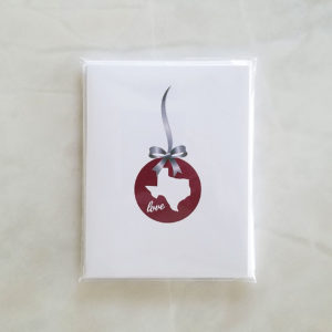 Note Cards - TX Holiday Love maroon silver