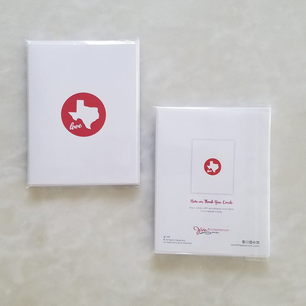 Note Cards - Texas Love, red