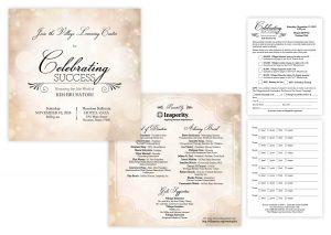"Gala Invitation, 6"" x 6""   Reply Card, 4.25"" x 5.5"""