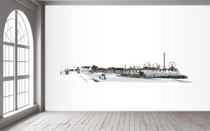 Galveston Pleasure Pier Line Drawing Wall Mural