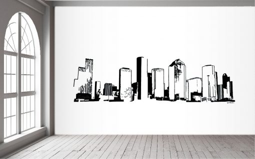 Houston Skyline Black Wall Mural