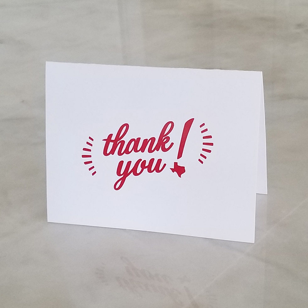 Thank You Texas note cards red