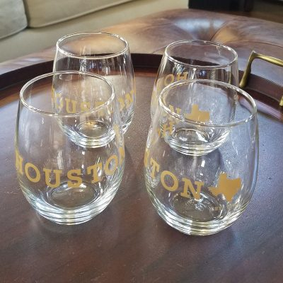 Houston Texas 15 oz wine glass