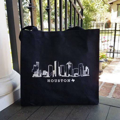 Houston Skyline black canvas