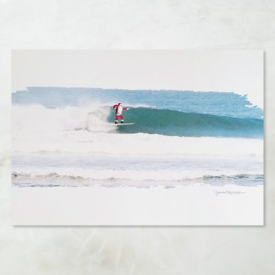 Surfing Santa Holiday Card