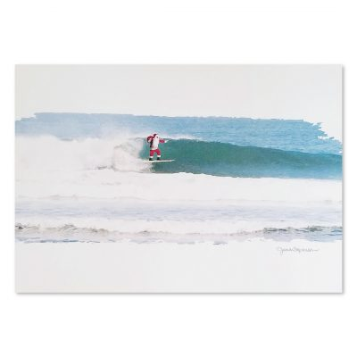 Greeting Card - Surfing Santa